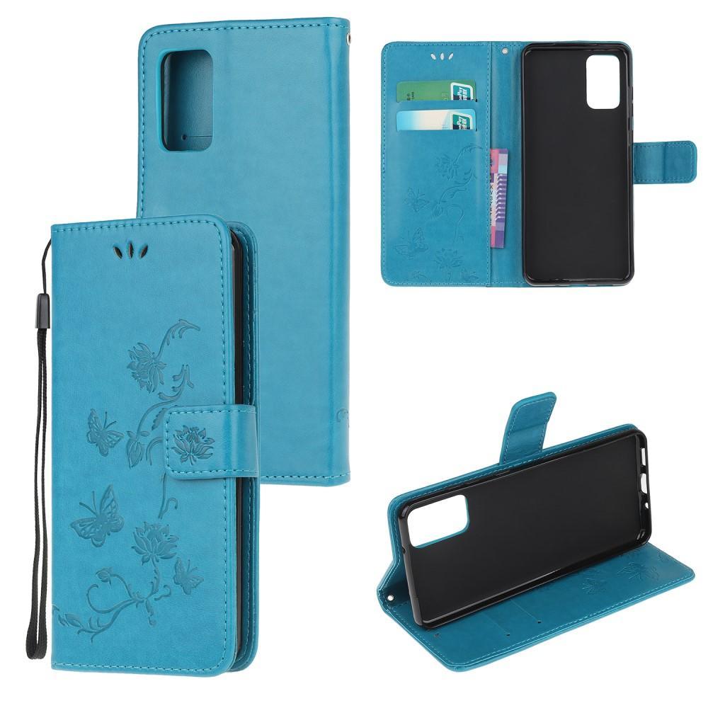 Nahkakotelo Perhonen Motorola Moto G9 Plus sininen