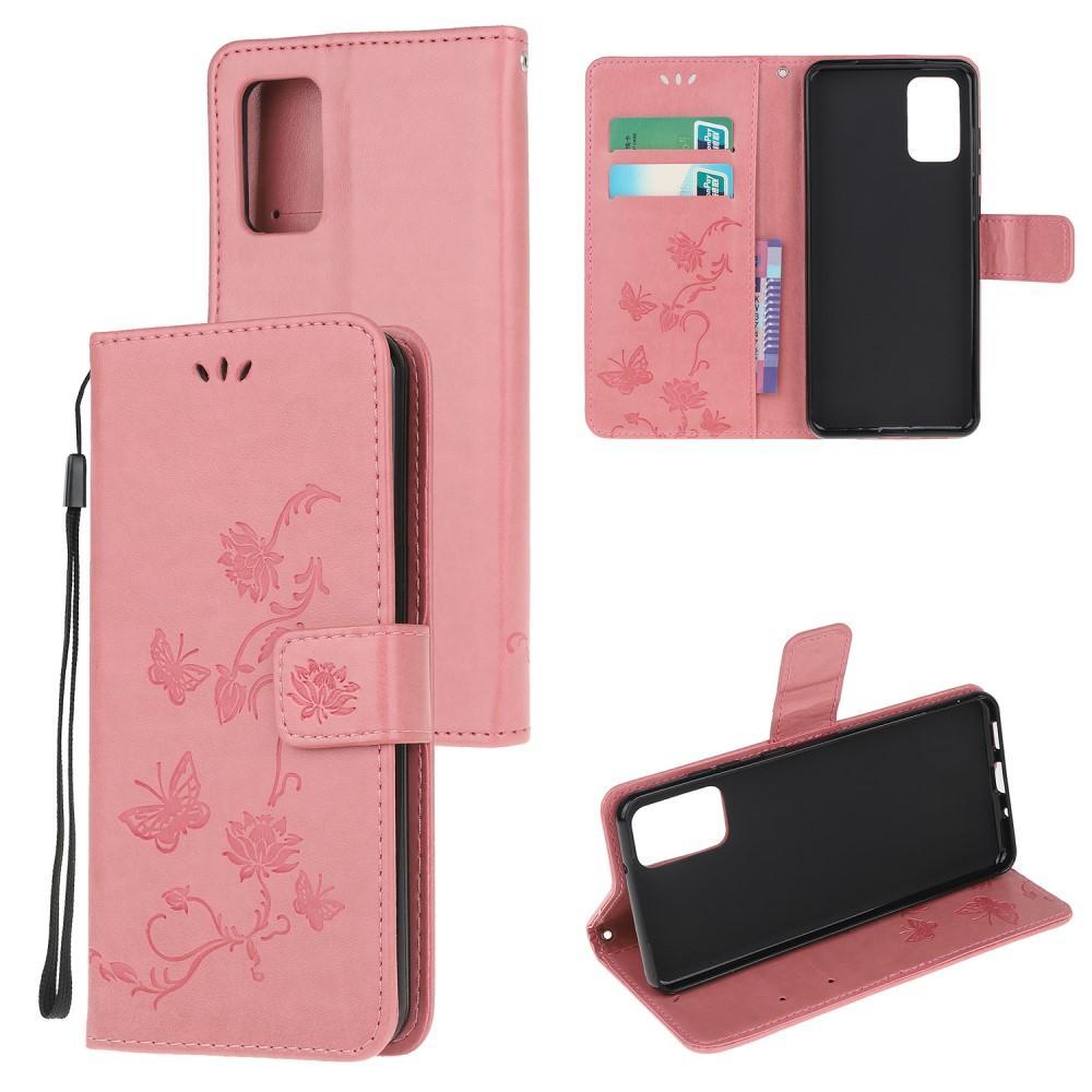 Nahkakotelo Perhonen Motorola Moto G9 Plus vaaleanpunainen