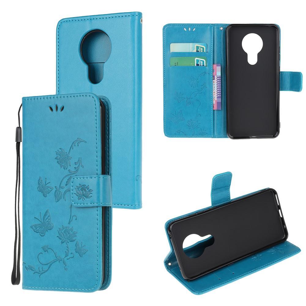 Nahkakotelo Perhonen Nokia 5.3 sininen