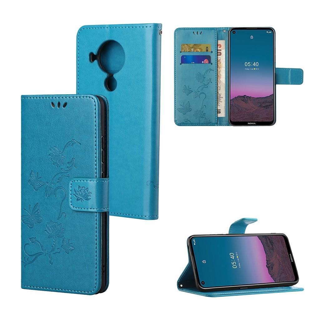 Nahkakotelo Perhonen Nokia 5.4 sininen