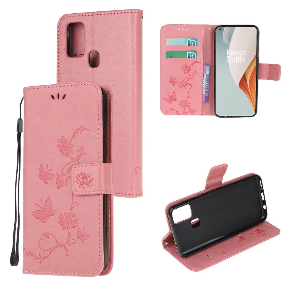 Nahkakotelo Perhonen OnePlus Nord N100 vaaleanpunainen