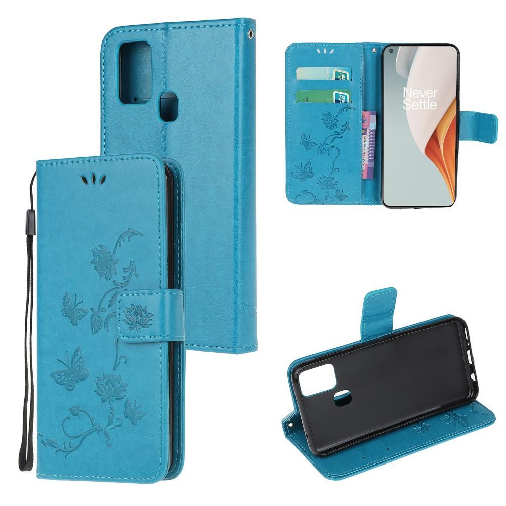 Nahkakotelo Perhonen OnePlus Nord N10 5G sininen