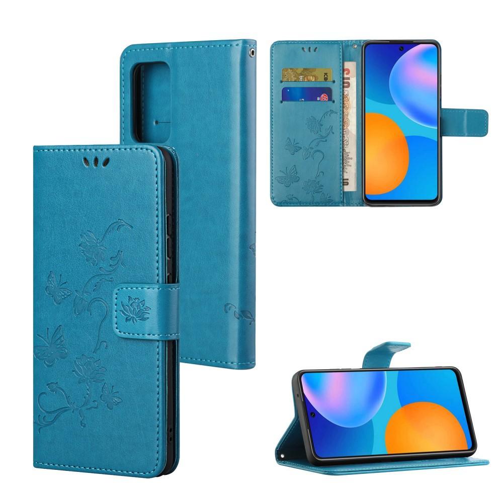 Nahkakotelo Perhonen Xiaomi Redmi Note 10 Pro sininen