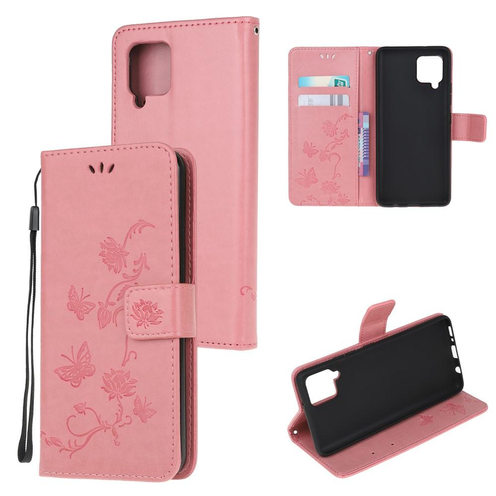 Nahkakotelo Perhonen Samsung Galaxy A12 vaaleanpunainen