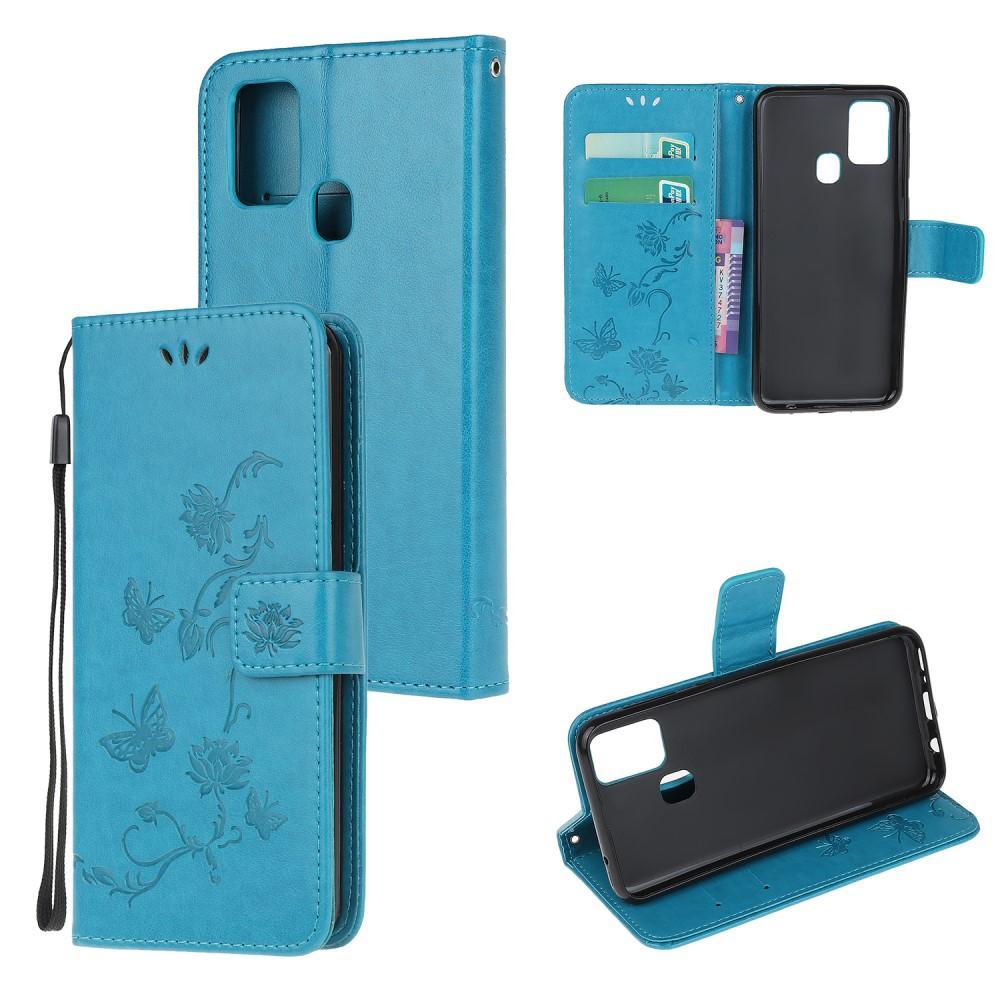 Nahkakotelo Perhonen Samsung Galaxy A21s sininen