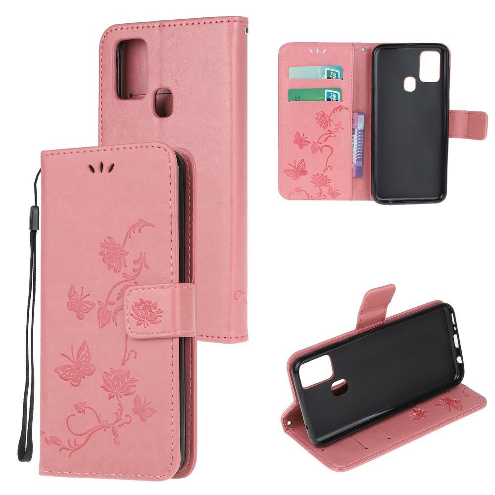 Nahkakotelo Perhonen Samsung Galaxy A21s vaaleanpunainen