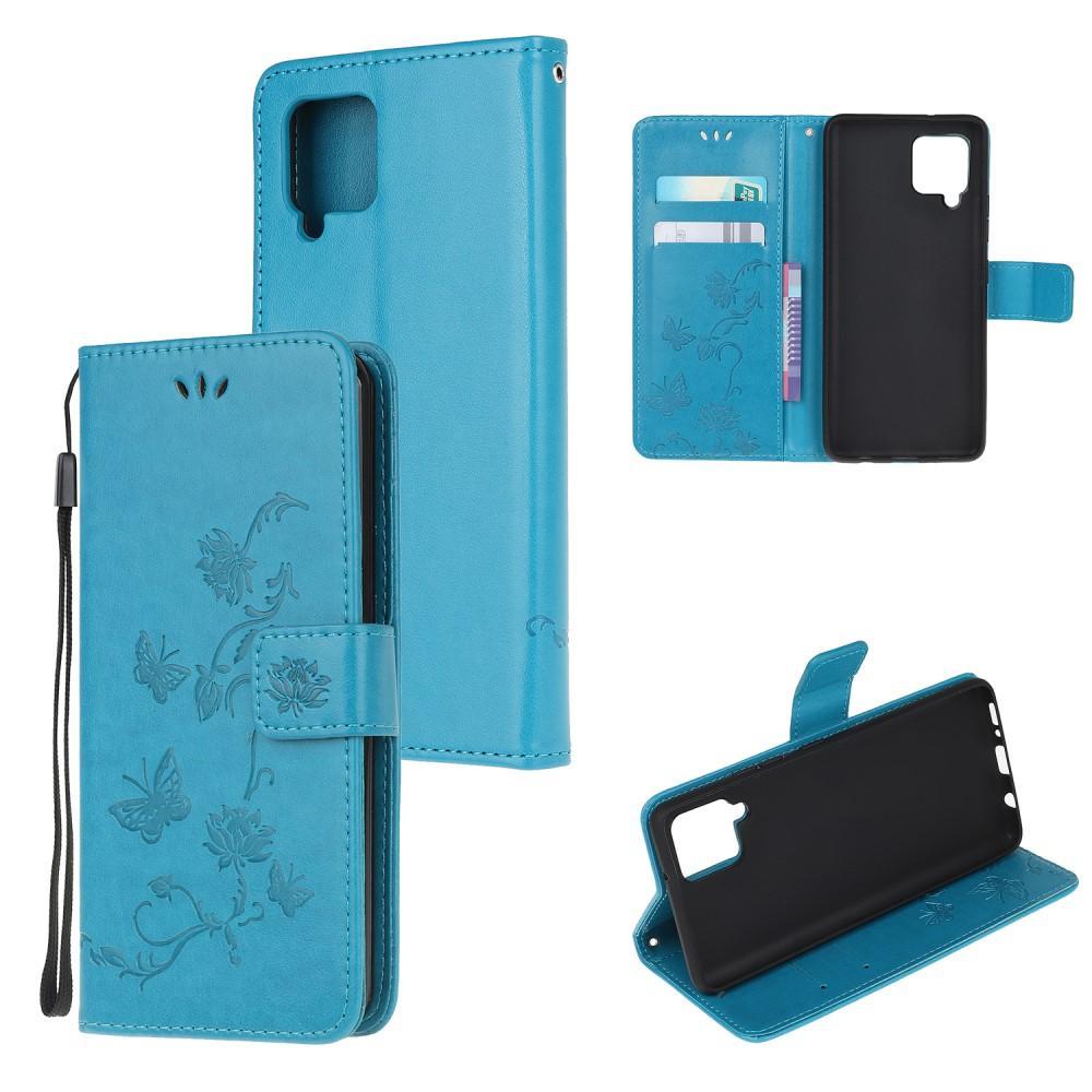Nahkakotelo Perhonen Samsung Galaxy A42 5G sininen