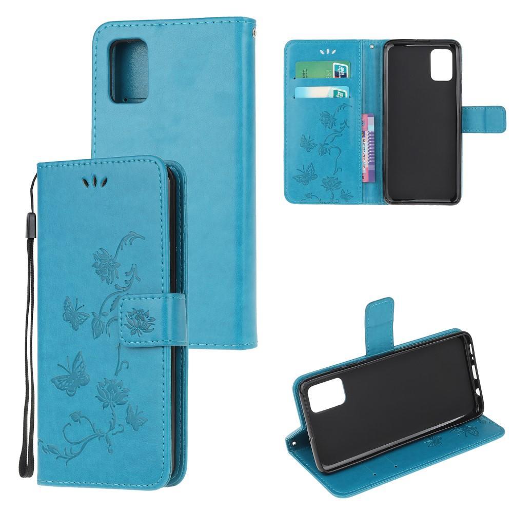 Nahkakotelo Perhonen Samsung Galaxy A52 5G sininen