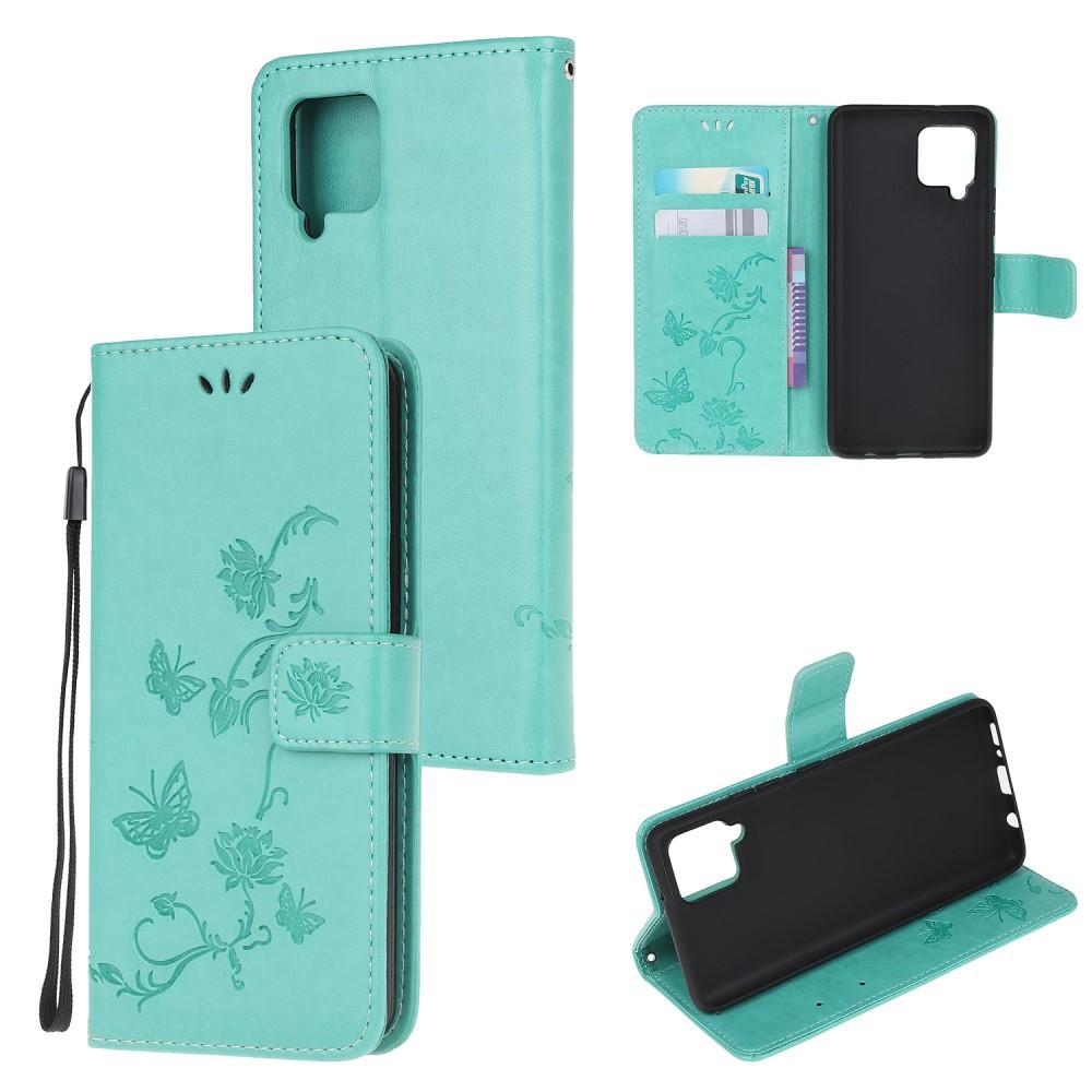 Nahkakotelo Perhonen Samsung Galaxy A42 5G vihreä