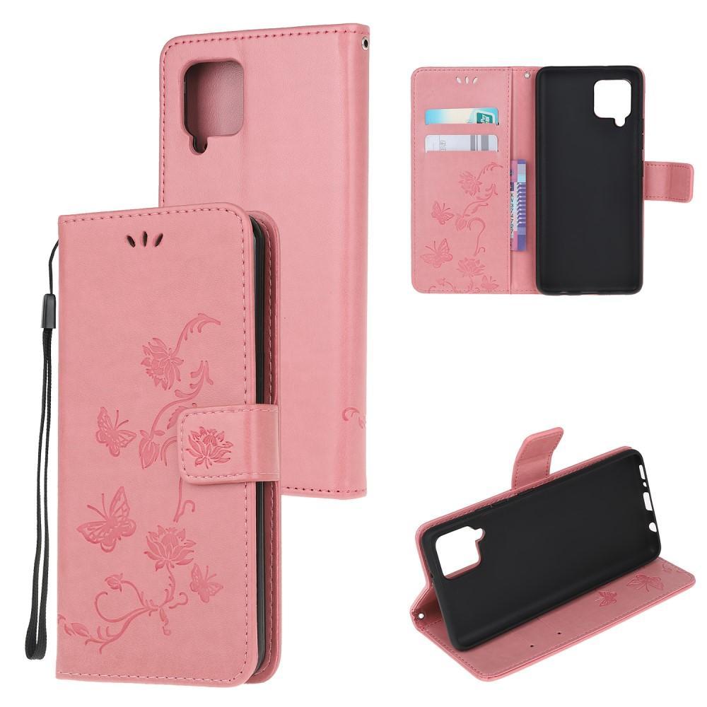 Nahkakotelo Perhonen Samsung Galaxy A42 5G vaaleanpunainen