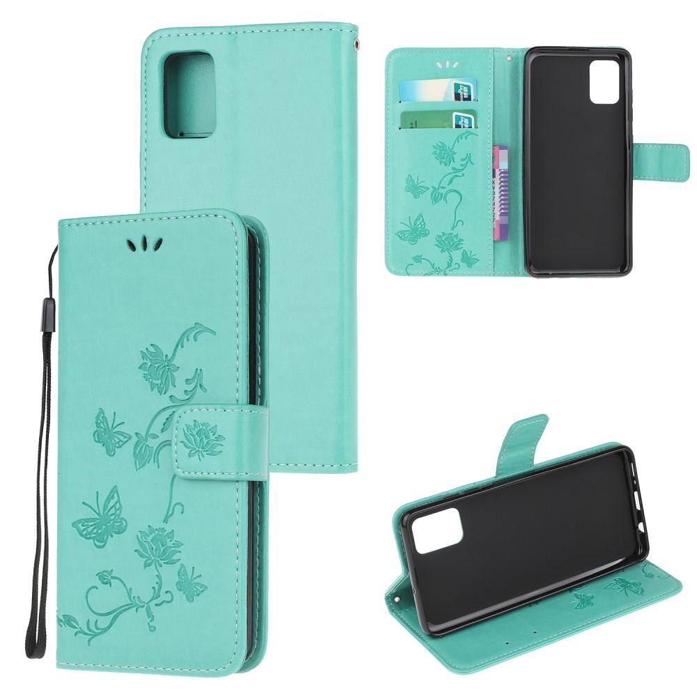 Nahkakotelo Perhonen Samsung Galaxy A72 5G vihreä