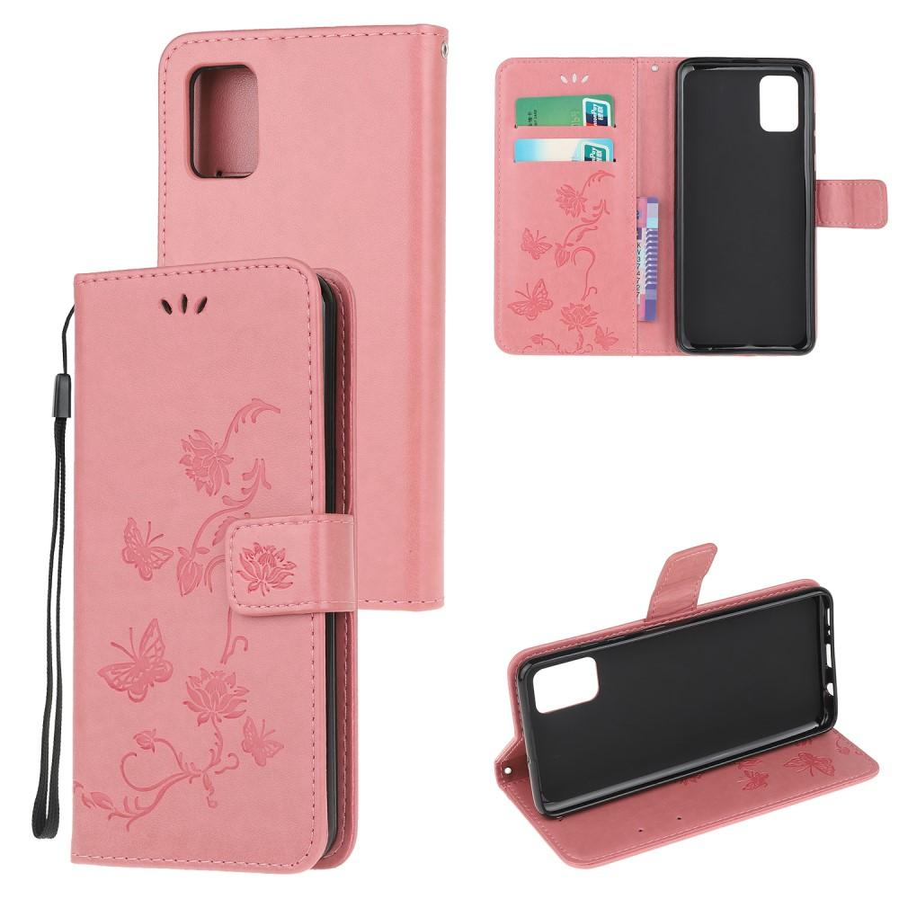 Nahkakotelo Perhonen Samsung Galaxy A72 5G vaaleanpunainen