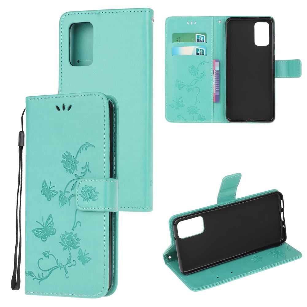 Nahkakotelo Perhonen Samsung Galaxy S20 FE vihreä