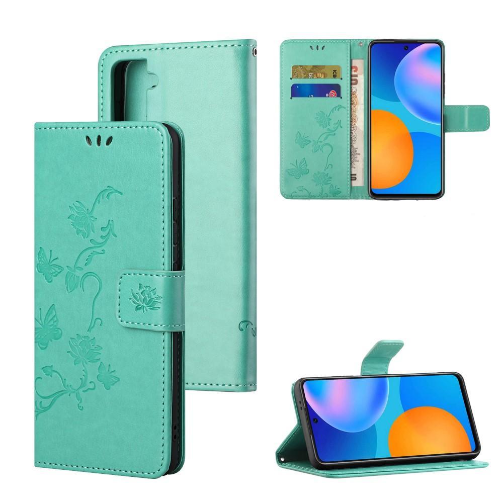 Nahkakotelo Perhonen Samsung Galaxy S21 vihreä