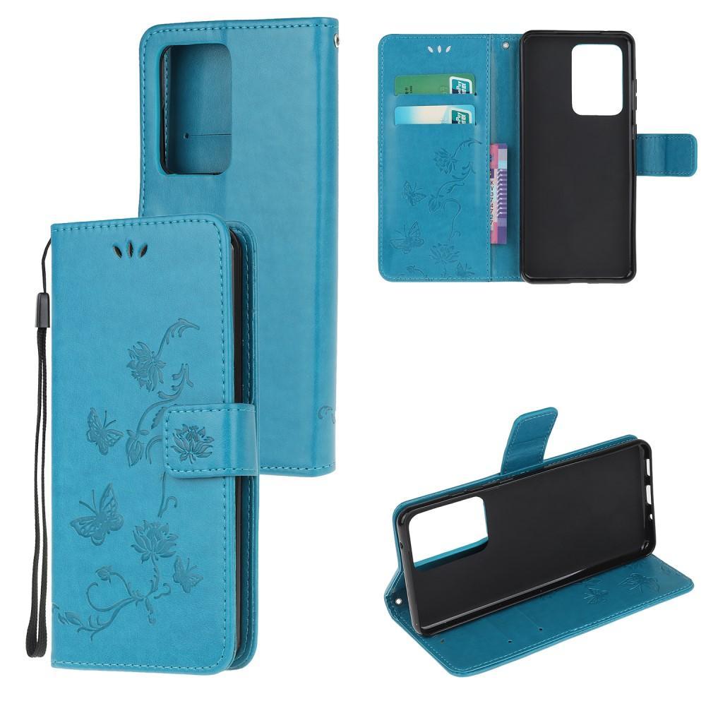 Nahkakotelo Perhonen Samsung Galaxy S21 Ultra sininen