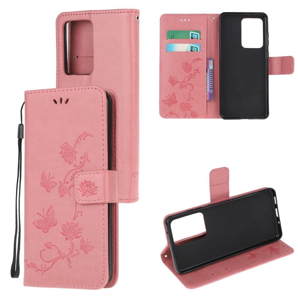Nahkakotelo Perhonen Samsung Galaxy S21 Ultra vaaleanpunainen