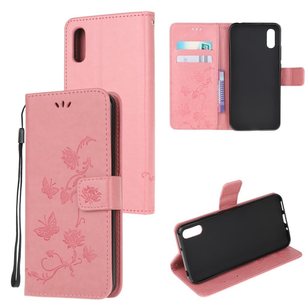 Nahkakotelo Perhonen Samsung Galaxy Xcover 5 vaaleanpunainen