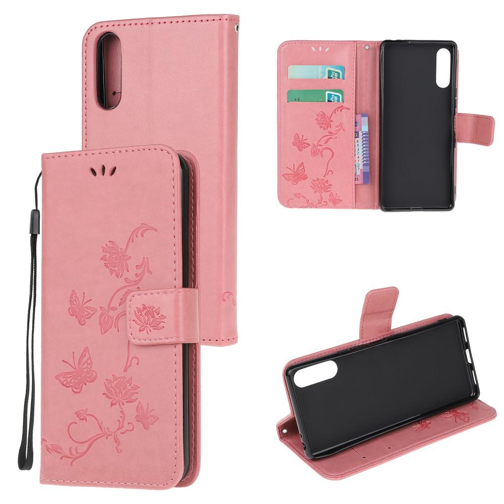 Nahkakotelo Perhonen Sony Xperia L4 vaaleanpunainen