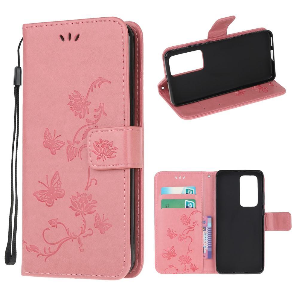 Nahkakotelo Perhonen Xiaomi Mi 10T/10T Pro vaaleanpunainen
