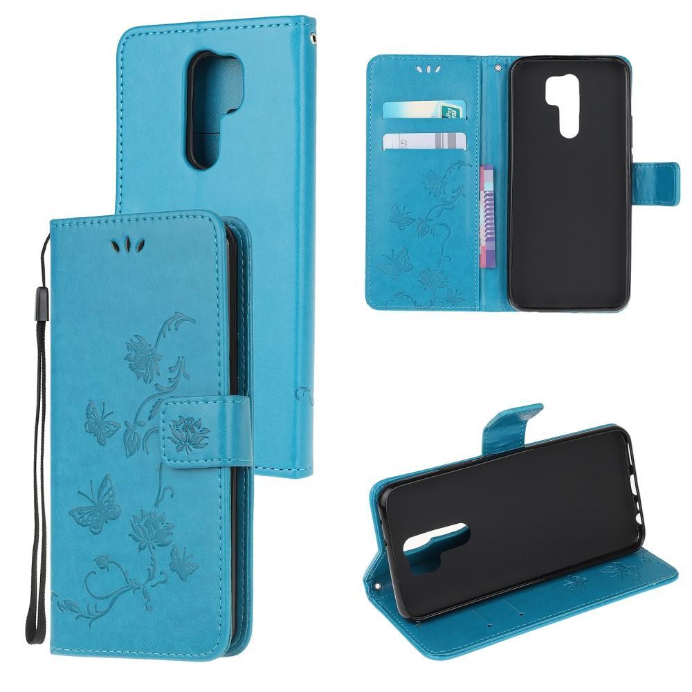 Nahkakotelo Perhonen Xiaomi Redmi 9 sininen