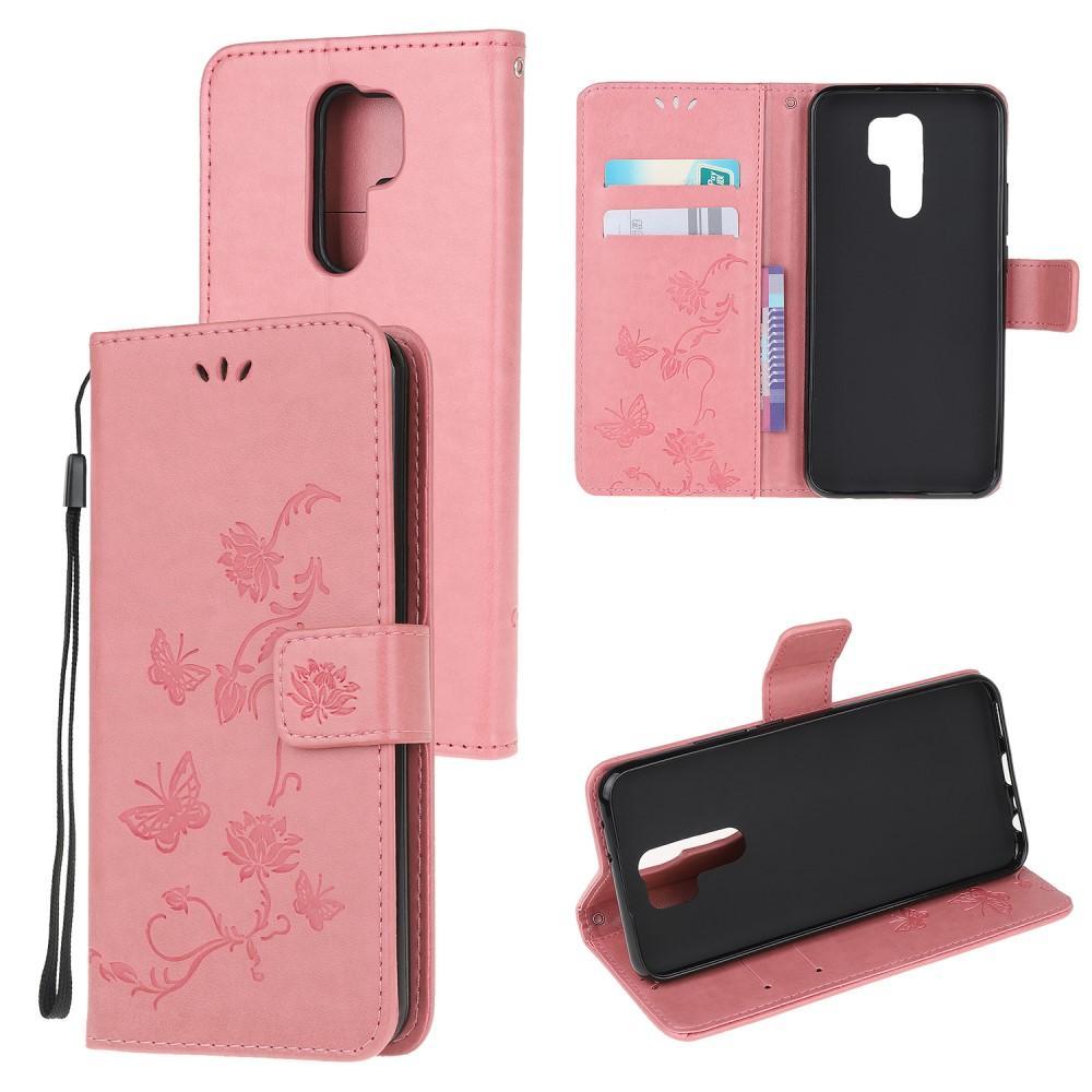 Nahkakotelo Perhonen Xiaomi Redmi 9 vaaleanpunainen