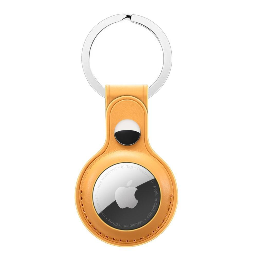 Nahkakotelo Avaimenperä Apple AirTag keltainen
