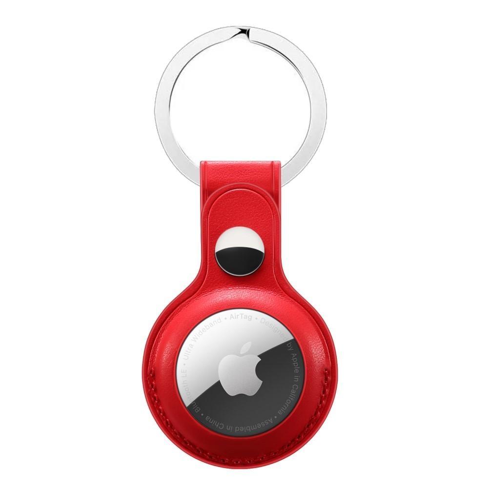 Nahkakotelo Avaimenperä Apple AirTag punainen