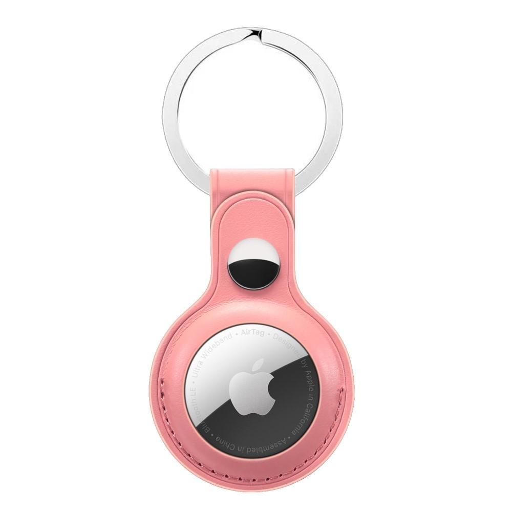 Nahkakotelo Avaimenperä Apple AirTag vaaleanpunainen
