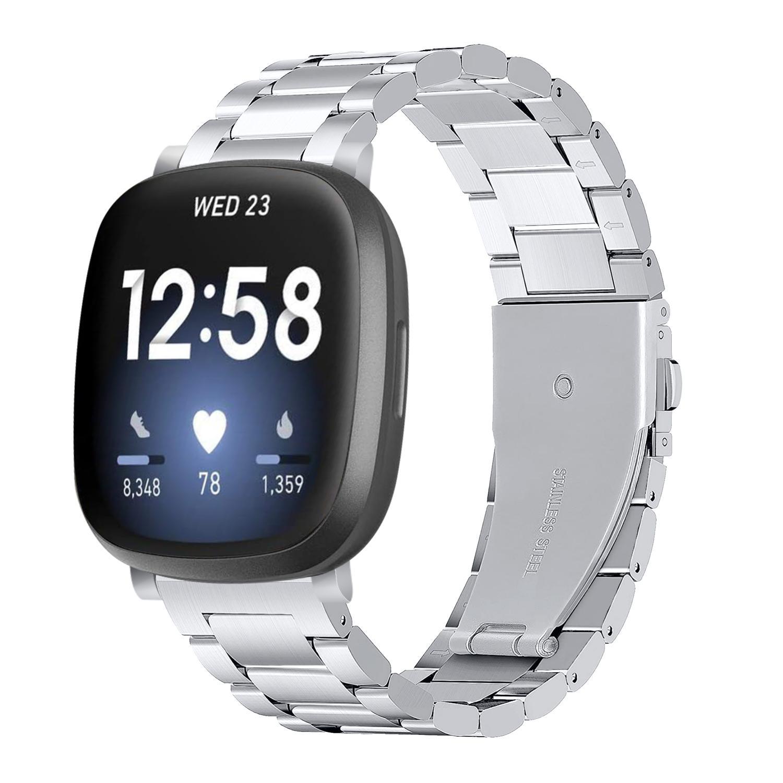 Metalliranneke Fitbit Versa 3/Sense hopea