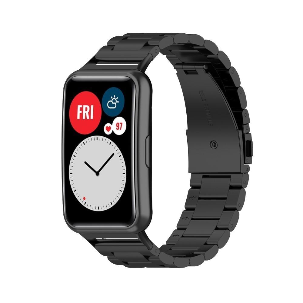 Metalliranneke Huawei Watch Fit musta