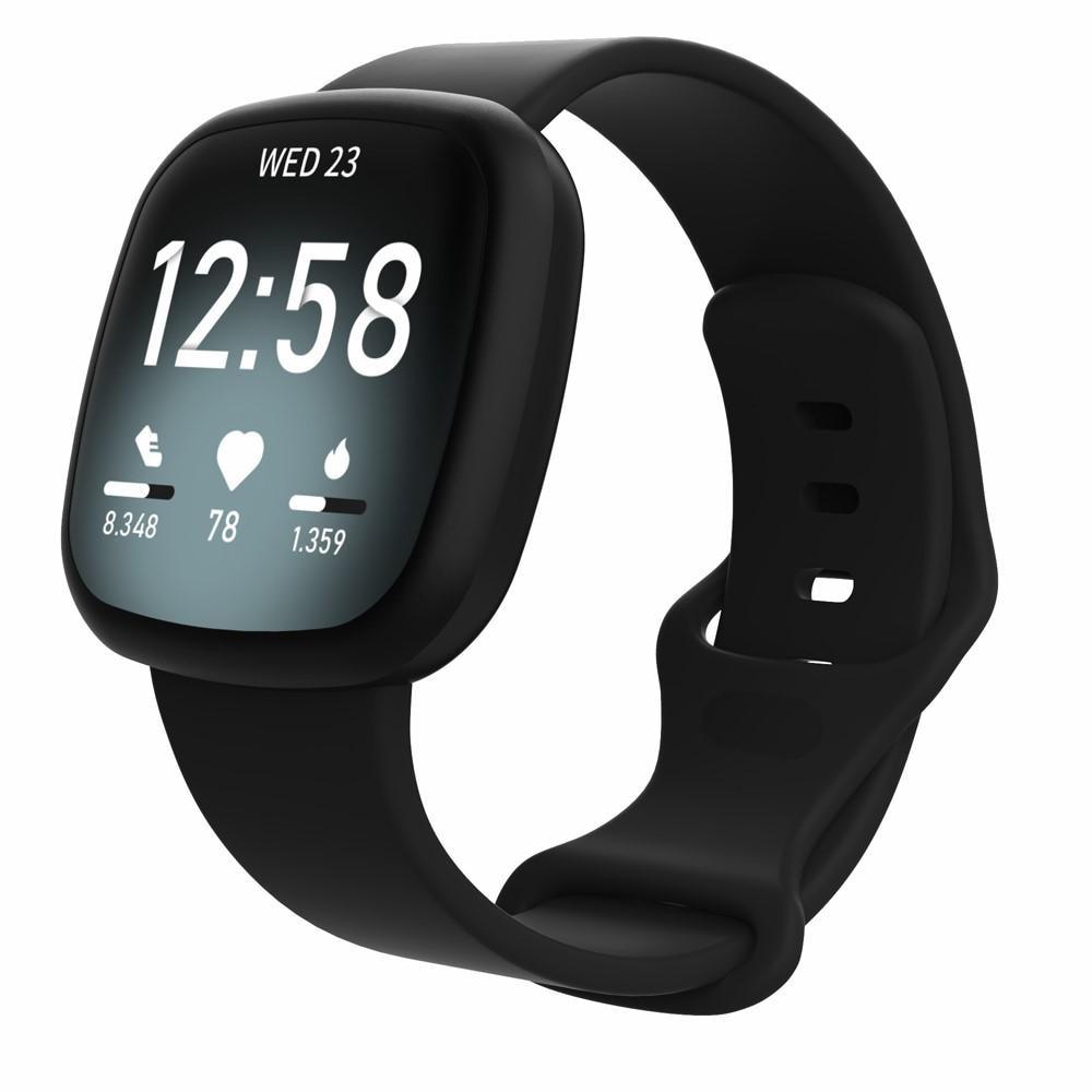 Silikoniranneke Fitbit Versa 3/Sense musta (Small)