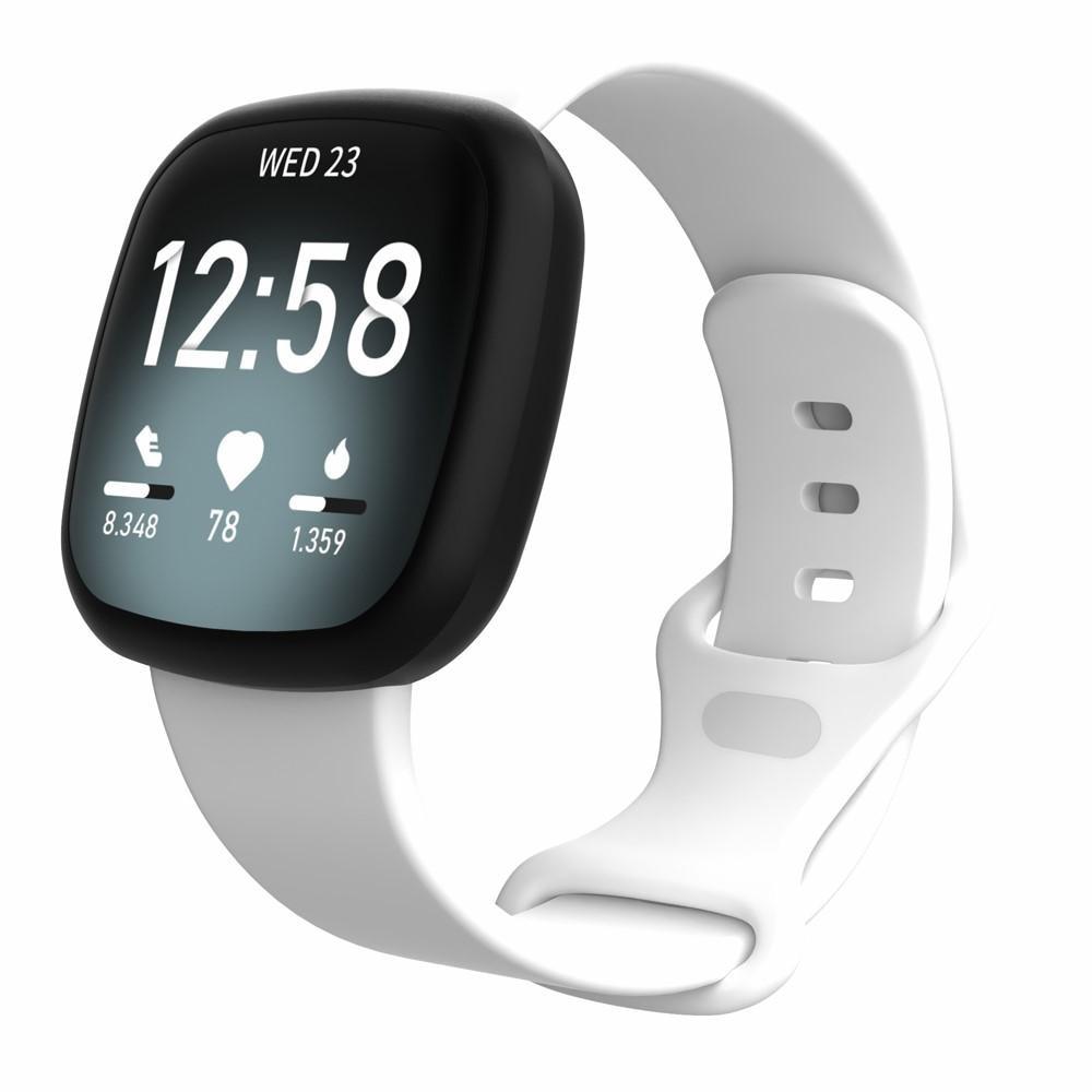 Silikoniranneke Fitbit Versa 3/Sense valkoinen (Small)