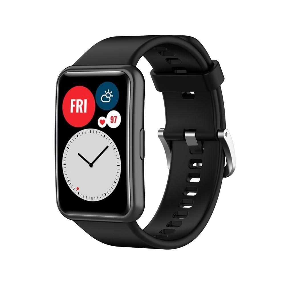 Silikoniranneke Huawei Watch Fit musta