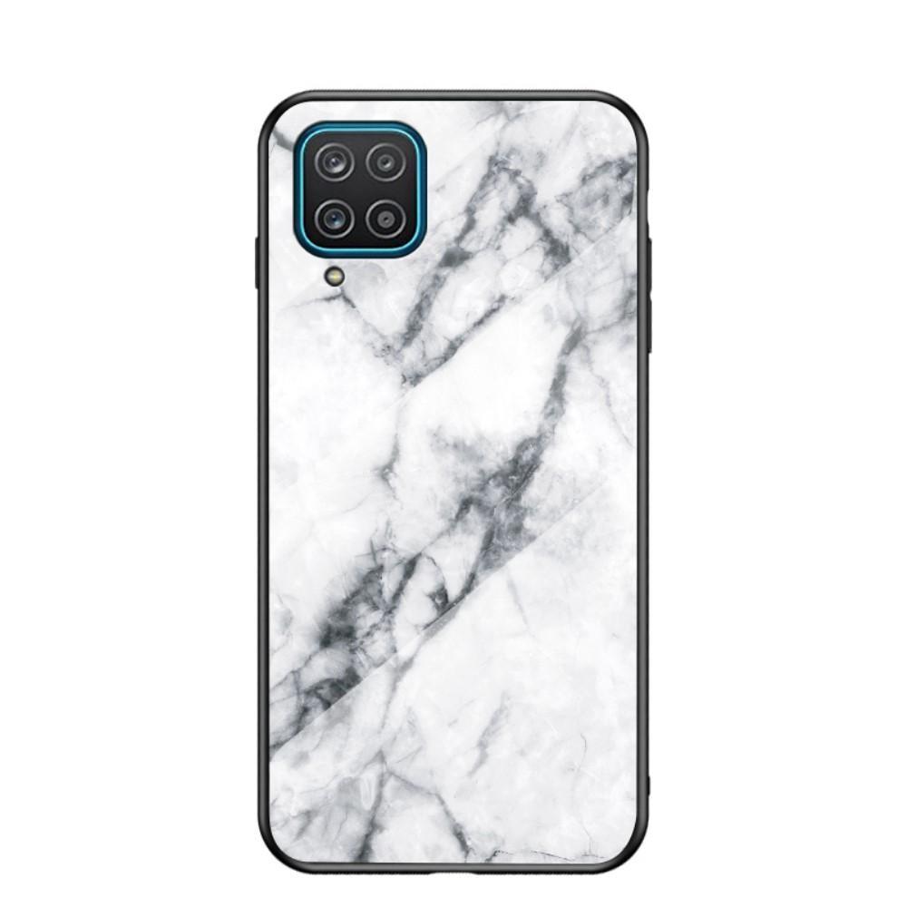 Panssarilasi Kuori Samsung Galaxy A12 valkoinen marmori