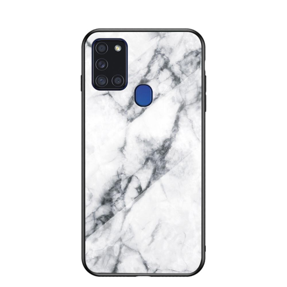Panssarilasi Kuori Samsung Galaxy A21s valkoinen marmori