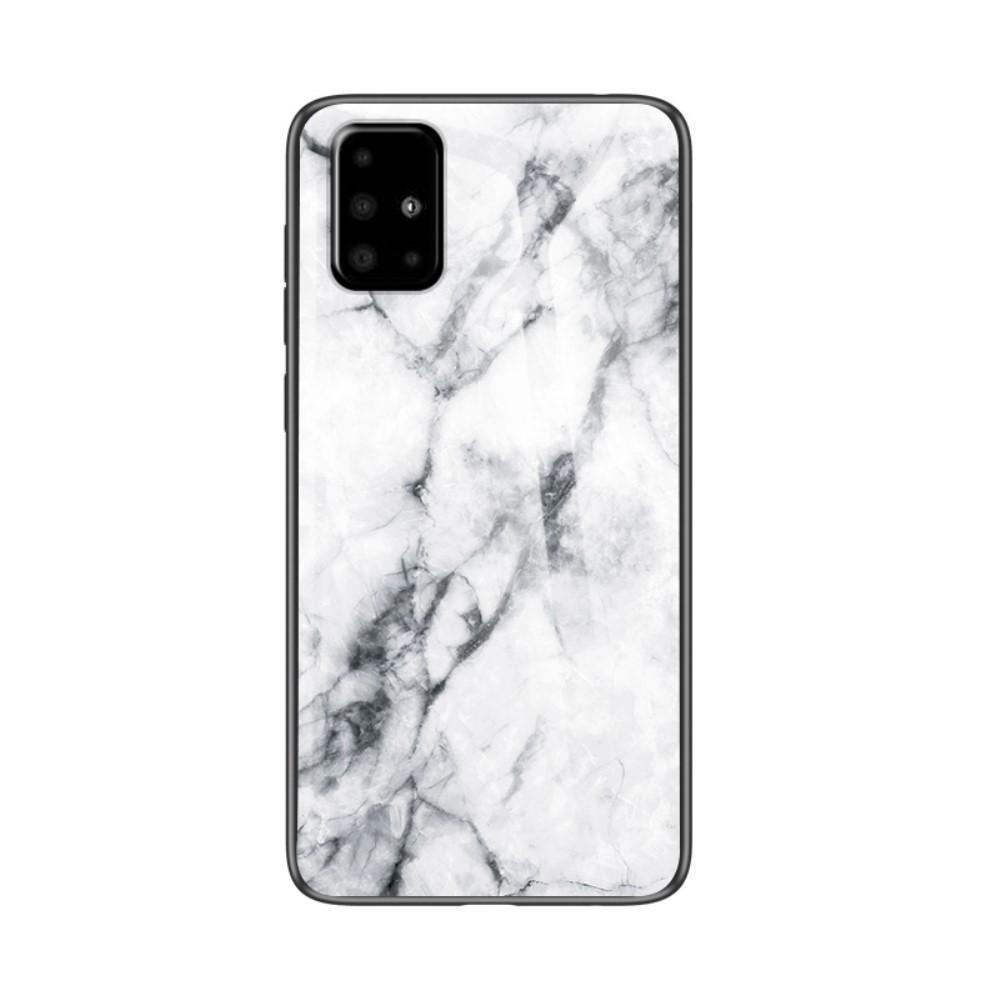 Panssarilasi Kuori Samsung Galaxy A51 valkoinen marmori