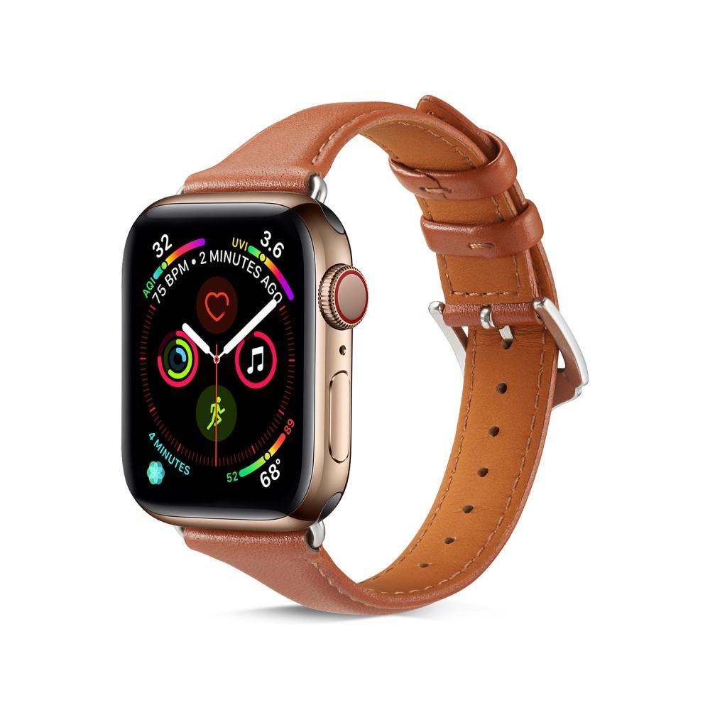 Slim Nahkaranneke Apple Watch 42/44/45 mm cognac