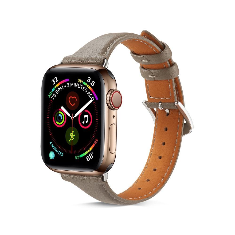 Slim Nahkaranneke Apple Watch 42/44/45 mm harmaa