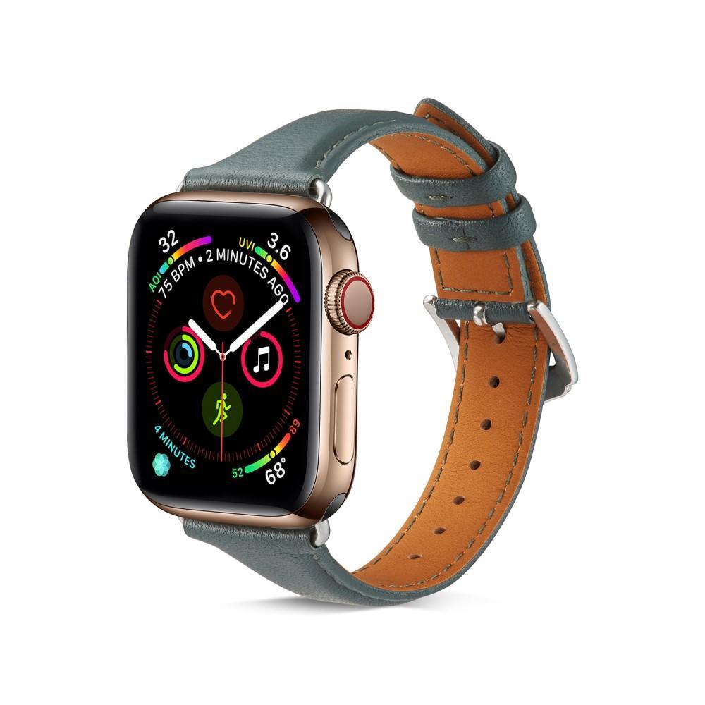 Slim Nahkaranneke Apple Watch 42/44/45 mm vihreä