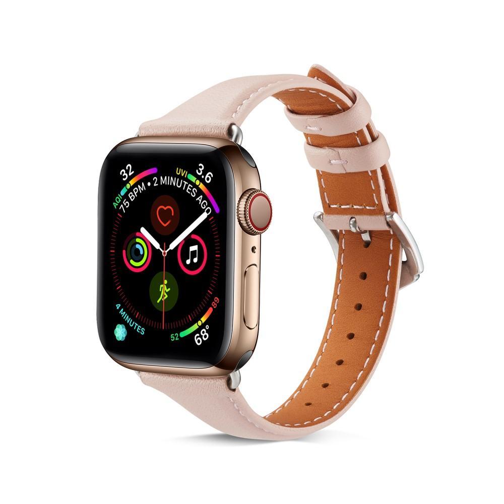 Slim Nahkaranneke Apple Watch 42/44/45 mm vaaleanpunainen
