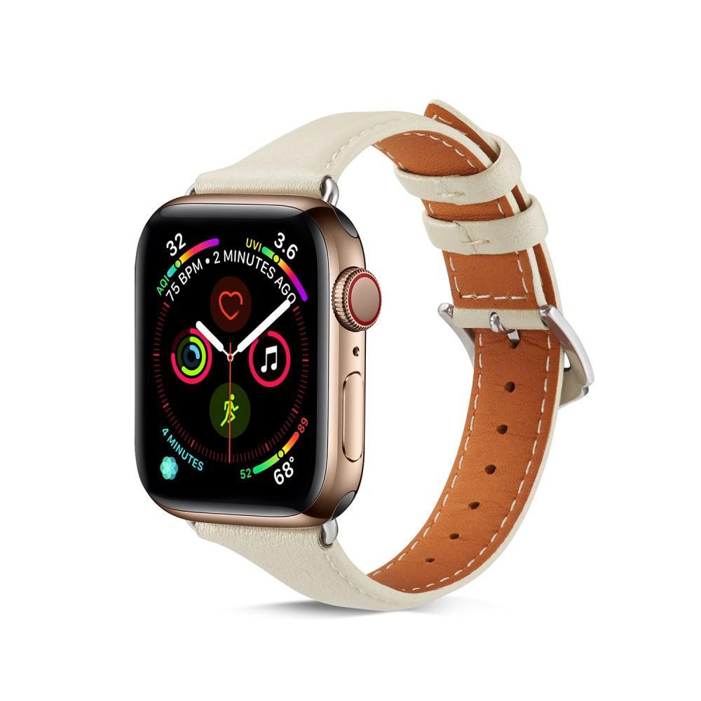Slim Nahkaranneke Apple Watch 42/44/45 mm valkoinen