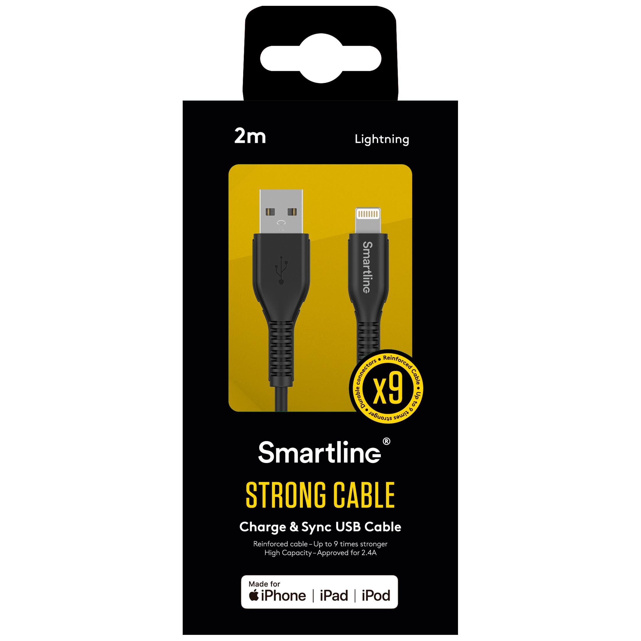 Strong USB Cable Lightning 2m musta